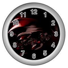 Fractal Mathematic Sabstract Wall Clocks (silver)