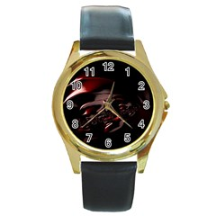 Fractal Mathematic Sabstract Round Gold Metal Watch