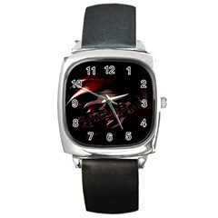 Fractal Mathematic Sabstract Square Metal Watch