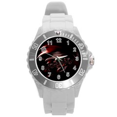 Fractal Mathematic Sabstract Round Plastic Sport Watch (l)