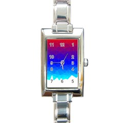 Gradient Red Blue Landfill Rectangle Italian Charm Watch