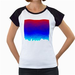 Gradient Red Blue Landfill Women s Cap Sleeve T