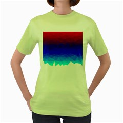 Gradient Red Blue Landfill Women s Green T Shirt