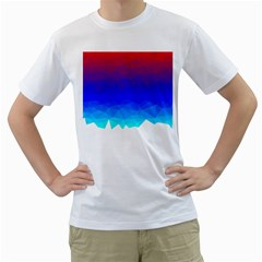 Gradient Red Blue Landfill Men s T Shirt (white) (two Sided)