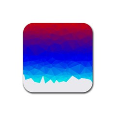 Gradient Red Blue Landfill Rubber Square Coaster (4 Pack)