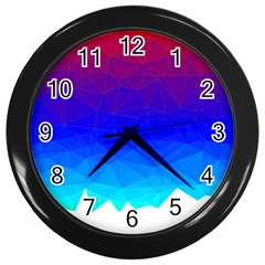 Gradient Red Blue Landfill Wall Clocks (Black)