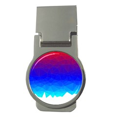 Gradient Red Blue Landfill Money Clips (round)