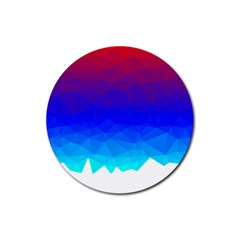 Gradient Red Blue Landfill Rubber Round Coaster (4 Pack)