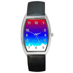 Gradient Red Blue Landfill Barrel Style Metal Watch