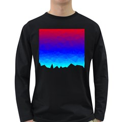 Gradient Red Blue Landfill Long Sleeve Dark T Shirts