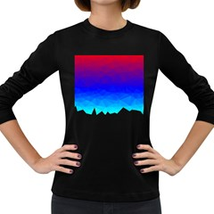 Gradient Red Blue Landfill Women s Long Sleeve Dark T Shirts