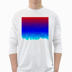 Gradient Red Blue Landfill White Long Sleeve T Shirts