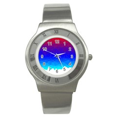 Gradient Red Blue Landfill Stainless Steel Watch