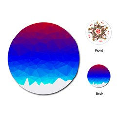 Gradient Red Blue Landfill Playing Cards (round)