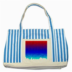 Gradient Red Blue Landfill Striped Blue Tote Bag
