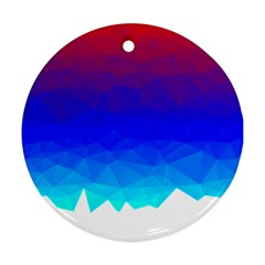 Gradient Red Blue Landfill Round Ornament (two Sides)