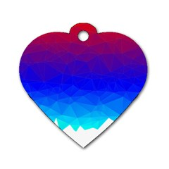 Gradient Red Blue Landfill Dog Tag Heart (two Sides)