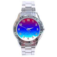Gradient Red Blue Landfill Stainless Steel Analogue Watch
