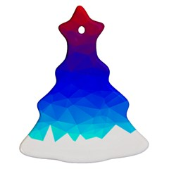 Gradient Red Blue Landfill Christmas Tree Ornament (two Sides)