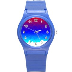 Gradient Red Blue Landfill Round Plastic Sport Watch (s)