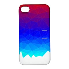 Gradient Red Blue Landfill Apple Iphone 4/4s Hardshell Case With Stand