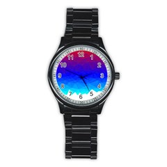 Gradient Red Blue Landfill Stainless Steel Round Watch