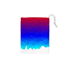Gradient Red Blue Landfill Drawstring Pouches (xs)