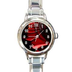 Red Black Fractal Mathematics Abstract Round Italian Charm Watch