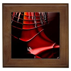Red Black Fractal Mathematics Abstract Framed Tiles