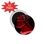 Red Black Fractal Mathematics Abstract 1.75  Magnets (10 pack)  Front