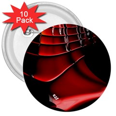 Red Black Fractal Mathematics Abstract 3  Buttons (10 pack)