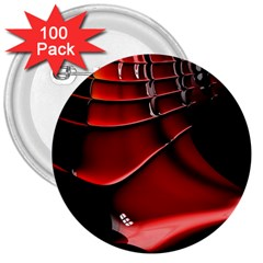 Red Black Fractal Mathematics Abstract 3  Buttons (100 Pack)
