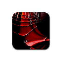 Red Black Fractal Mathematics Abstract Rubber Square Coaster (4 Pack)