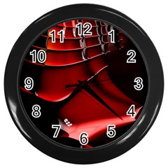 Red Black Fractal Mathematics Abstract Wall Clocks (Black)