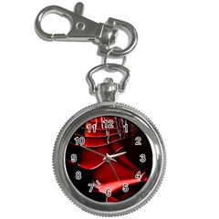 Red Black Fractal Mathematics Abstract Key Chain Watches