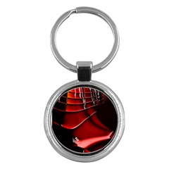 Red Black Fractal Mathematics Abstract Key Chains (round)