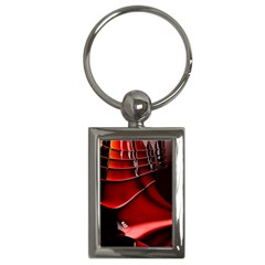 Red Black Fractal Mathematics Abstract Key Chains (rectangle)