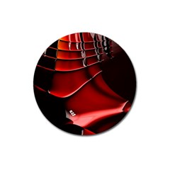 Red Black Fractal Mathematics Abstract Magnet 3  (round)