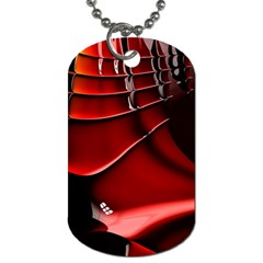 Red Black Fractal Mathematics Abstract Dog Tag (one Side)