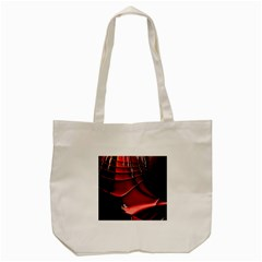 Red Black Fractal Mathematics Abstract Tote Bag (cream)