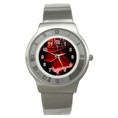 Red Black Fractal Mathematics Abstract Stainless Steel Watch