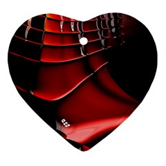 Red Black Fractal Mathematics Abstract Heart Ornament (two Sides)