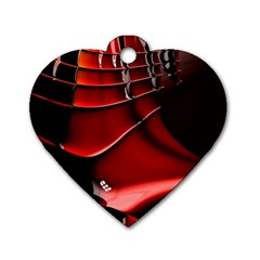 Red Black Fractal Mathematics Abstract Dog Tag Heart (one Side)