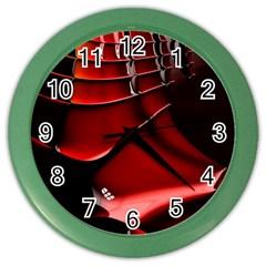 Red Black Fractal Mathematics Abstract Color Wall Clocks