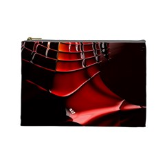 Red Black Fractal Mathematics Abstract Cosmetic Bag (large)