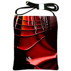 Red Black Fractal Mathematics Abstract Shoulder Sling Bags
