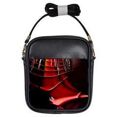 Red Black Fractal Mathematics Abstract Girls Sling Bags