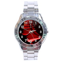 Red Black Fractal Mathematics Abstract Stainless Steel Analogue Watch