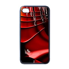 Red Black Fractal Mathematics Abstract Apple Iphone 4 Case (black)