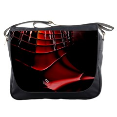Red Black Fractal Mathematics Abstract Messenger Bags